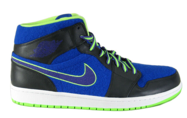 huge discount a69a6 9c202 Nike Air Jordan 1 Mid Bel-air 633206-040 Wool Blue Black Lime Shoes Sz 13 14