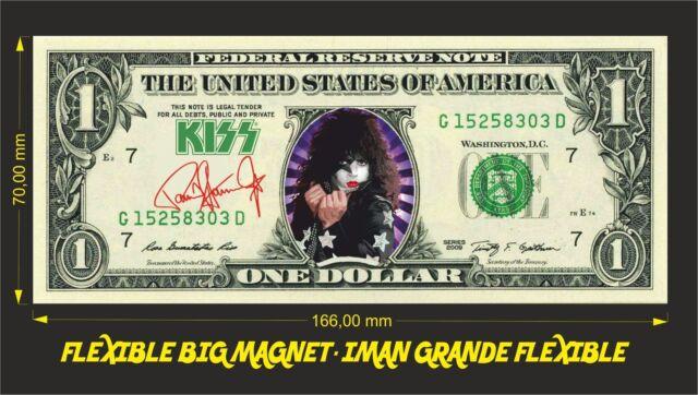 KISS PAUL STANLEY IMAN BILLETE 1 DOLLAR BILL MAGNET