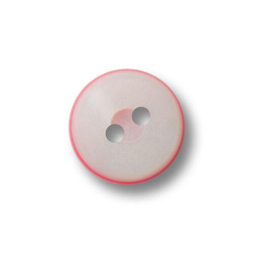 10 perlmuttweiß rosa pinke Zweiloch Kunststoff Knöpfe in Sandwich Optik e522rs