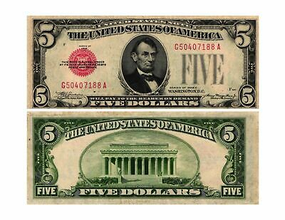 Random 1928 $5.00 Red Seal United States Legal Tender Note Average Circulated