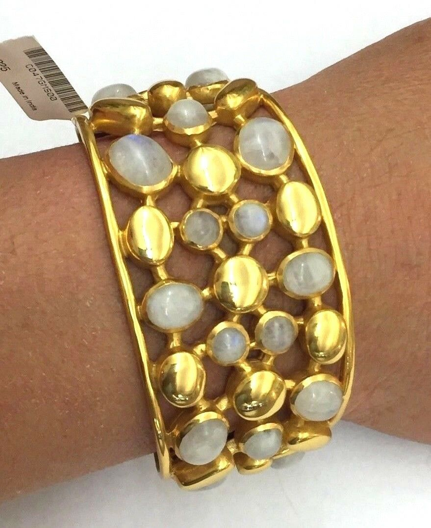 Julie Vos 24k gold Plated Cuff, gold and Moonstones NWT   325 reduced to  250