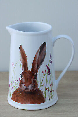 Beautiful Homeware Hare Rabbit Design Jug With Grey Handle Medium 15cm Tall