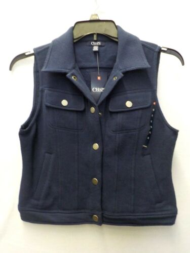 WOMENS SMALL CHAPS NAVY RIVER PATH SNAP-FRONT VEST NEW NWT #6648
