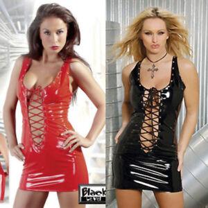 5c38396101fa Ladies Celeb Black / Red VINYL (PVC) MINI DRESS One SIZE 807 | eBay