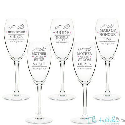 Personalised Champagne Flutes Glass Wedding Favour Gift Bridesmaid Maid Honour