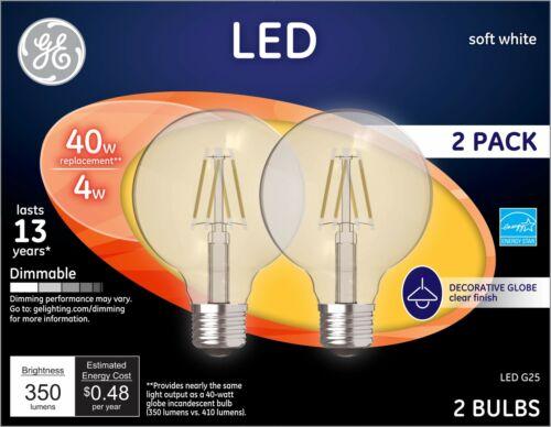 Soft White GE Lighting 23192 Clear Finish Light Bulb Dimmable LED G25