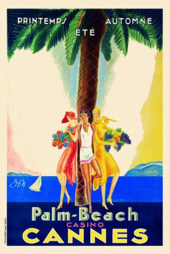 Vintage Art Deco French Travel Poster Cannes Palm Beach Casino Cote D/'Azur 1920s