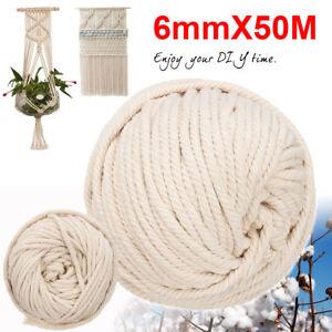 6mm-50M-Baumwolle-Schnur-Seil-Faden-Garn-Haekeln-Makramee-Baumwollschnur-Rolle