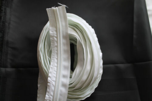 3 Meter Endlose Reissverschlüsse Meterware Weiß 10 mm inklusive 6 Zipper Weiß
