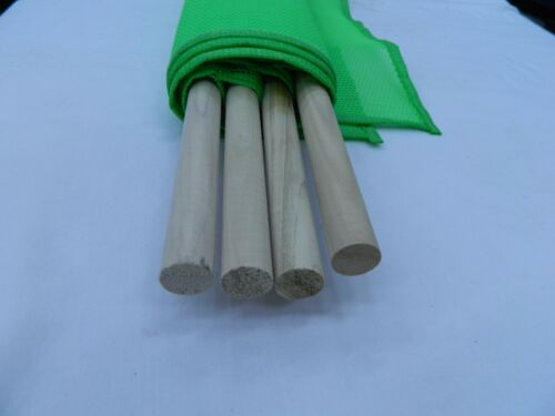 """Made In USA 18/"""" x 18/"""" Green Mesh Safety Flags w//Stick 4pc"""