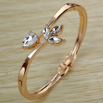 Gold crystal Rhinestone Flower Leaves Bracelet Bangle cuff wedding party jewelry