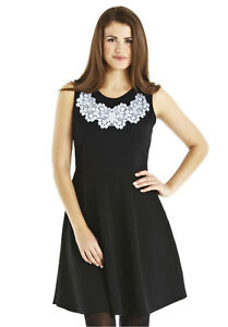 910bb78934 Details about Limited Edition Sleeveless Skater Lace Print Flared Skirt  Dress 14 Black/Grey