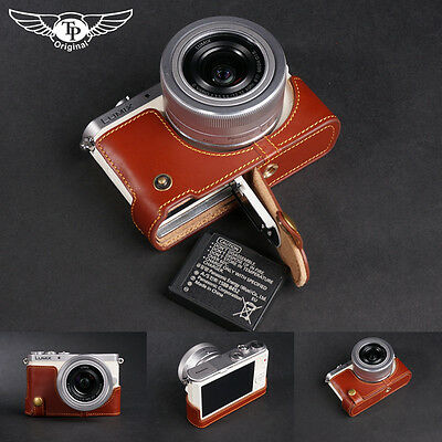 Genuine Real Leather Half Camera Case Bag Cover for Panasonic GM1 GM1S OPEN