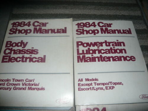1984 Ford Crown Victoria Grand Marquis Lincoln Town Car Service Shop Manual Set