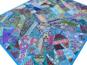 Quilt-India-Patchwork-Bed-cover-King-Turquoise-Blue-Handmade-Vintage-Patches-B1