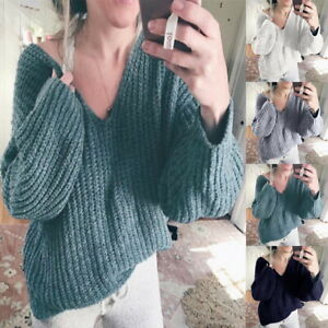 Femme-Sexy-V-Col-Couleur-Unie-Pulls-Casual-Manches-Longues-Baggy-Tricote-Sweats