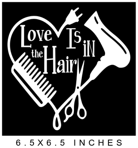 Hair stylist heart vinyl decal