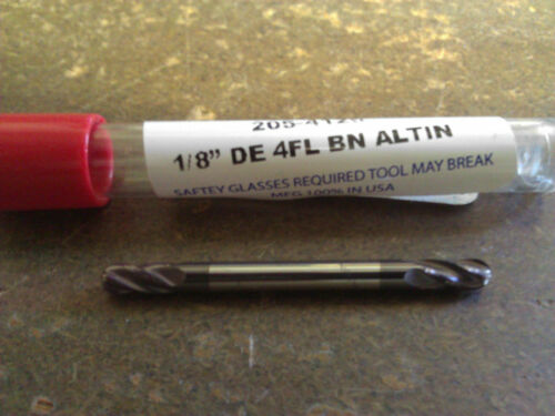 ".125/"" 1//8/"" 4 FLUTE DOUBLE END STUB CARBIDE BALL END MILL AlTiN COATED"