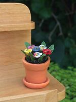 Miniature Dollhouse Fairy Garden Tiny Multi Pansy Flowers Pansies In Pot