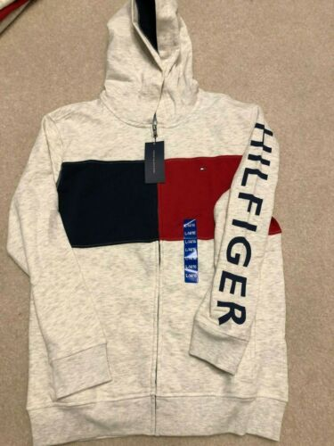 New Tommy Hilfiger Youth Boy/'s Full-Zip Fleece Logo Hoodie with Pockets