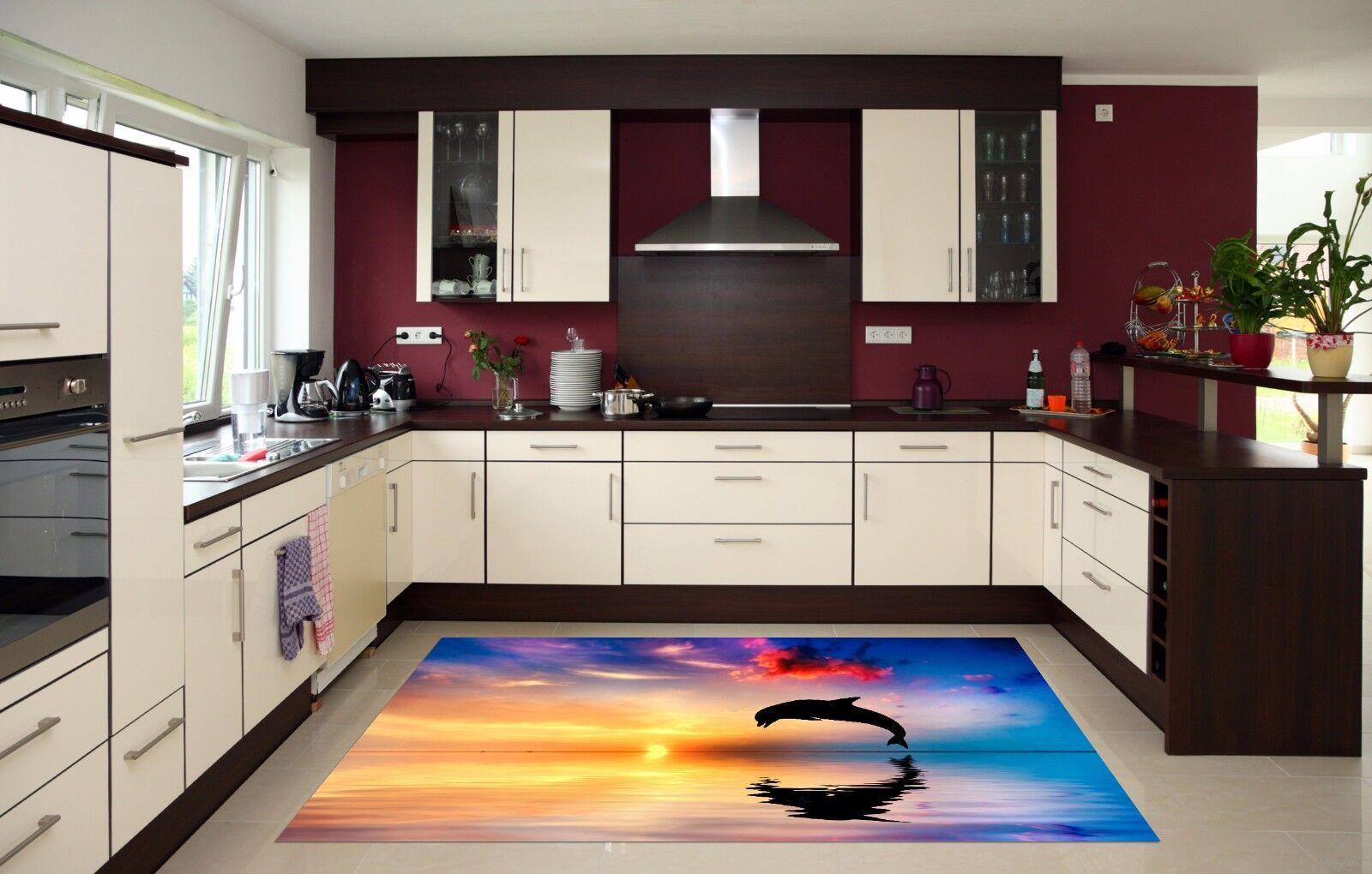 3D Dusk Dolphin13 Kitchen Mat Floor Murals Wall Print Wall Deco AJ WALLPAPER UK