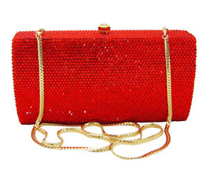Image Is Loading Anthony David Red Crystal Amp Gold Metal Clutch