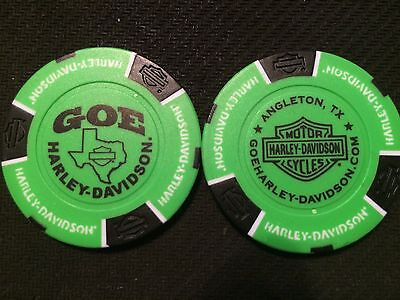 Port Aransas Neon Green /& Black Texas Wahoo Harley Davidson Poker Chip