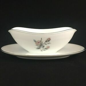 VTG-Gravy-Boat-Attached-Underplate-Noritake-China-Margot-5605-Roses-Floral-Japan