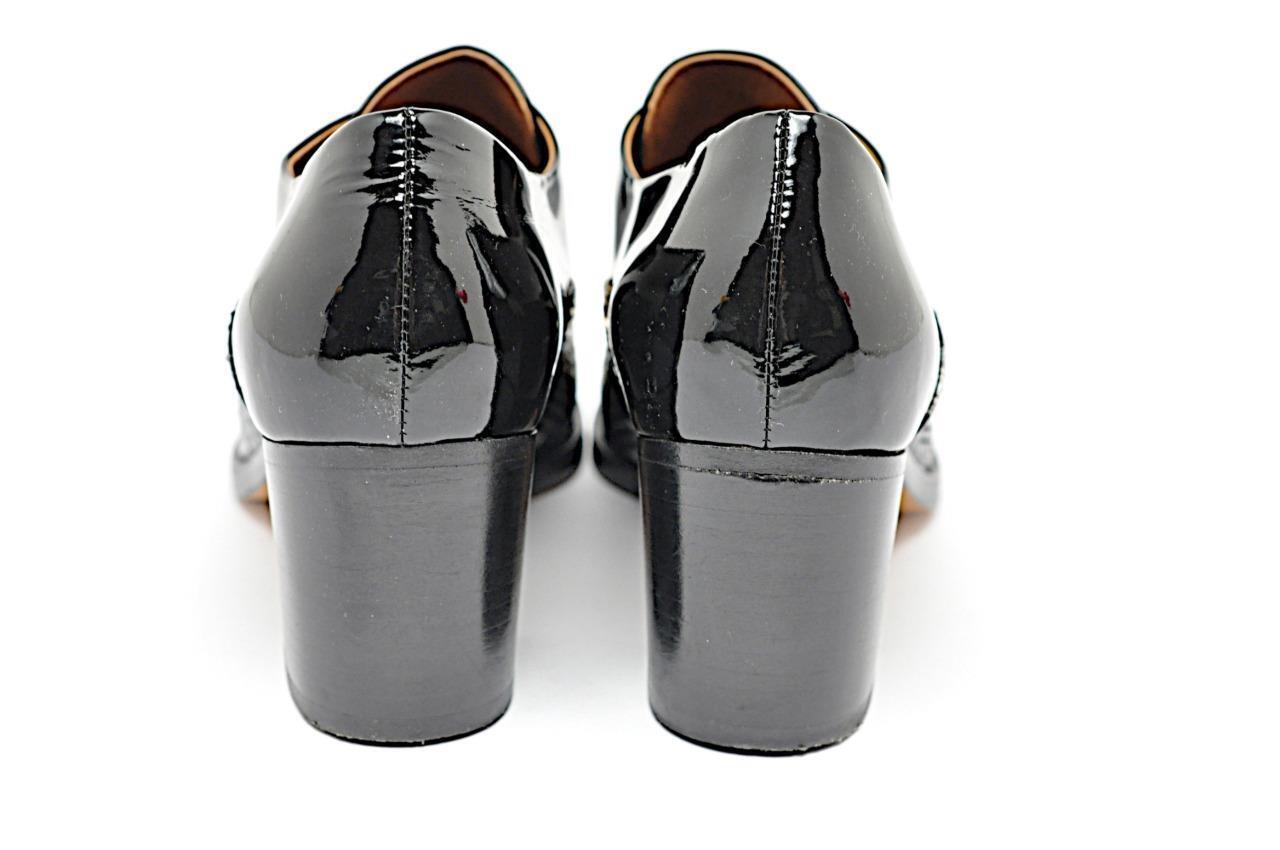Reed Krakoff Charol Plata Negro Plata Charol crudo Piel De Serpiente Moda Oxfords talla 39.5 a35615