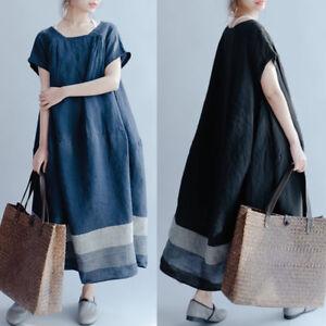 ZANZEA-Women-Oversize-Long-Shirt-Dress-Round-Neck-Party-Stripe-Midi-Dress-Plus