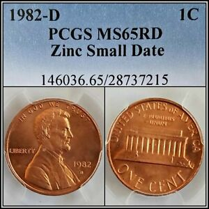 1982-D-Zinc-Small-Date-1c-Lincoln-Memorial-Cent-PCGS-MS65RD-Red-Gem-Unc-Penny