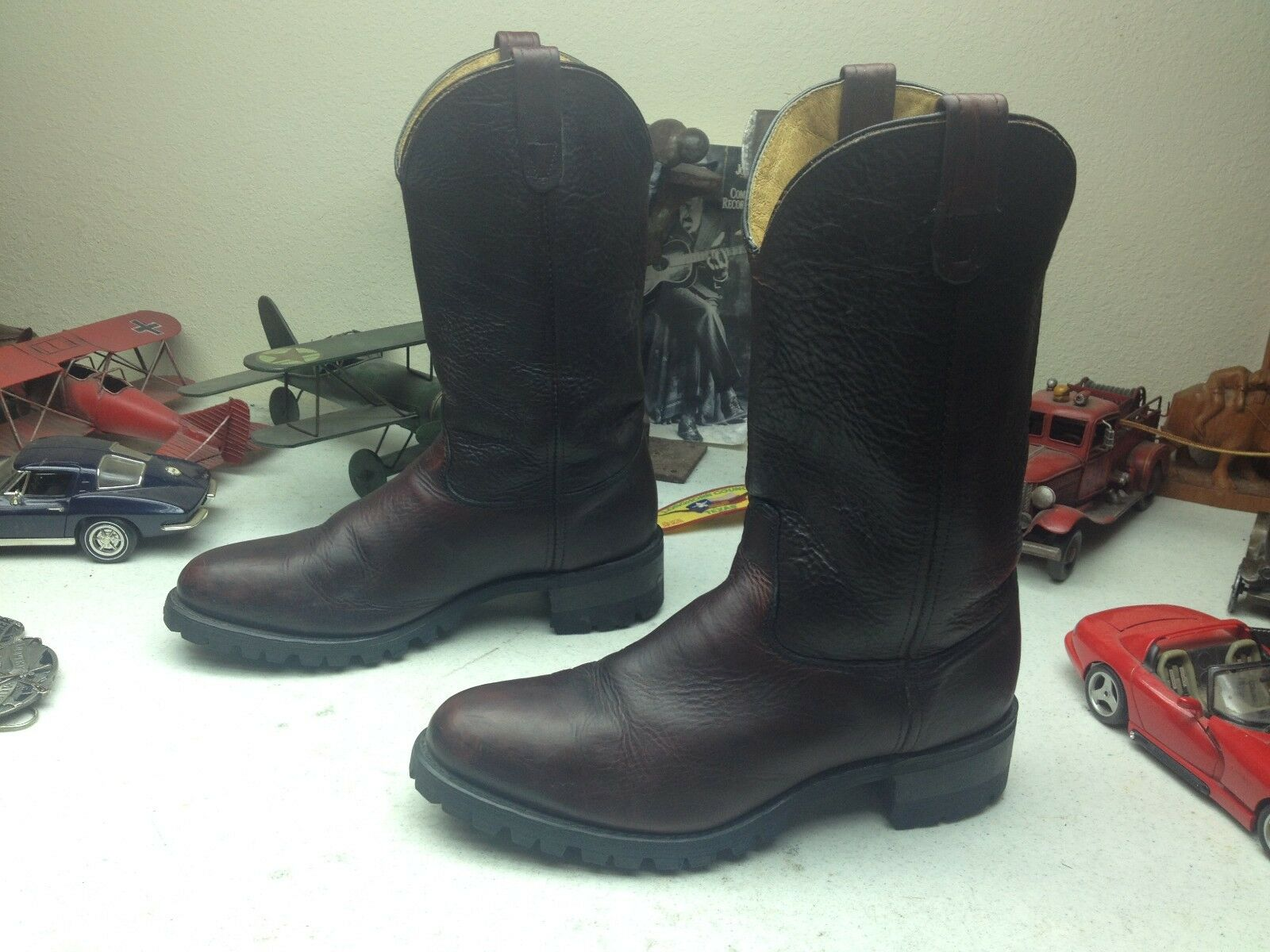 DISTRESSED DOUBLE H H H STEEL TOE USA OXBLOOD LEATHER ENGINEER BUCKAROO Stiefel 11EE 88d947