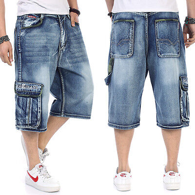 Mens Jeans Shorts Relaxed Fit Capri Pants Cargo Baggie Shorts Baggy Plus Size | eBay