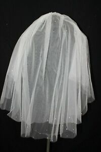 New double layer scattered rhinestone bridal veil, light ivory, elbow length