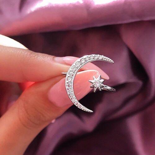 Mode verstellbar Crescent Moon /& Star Ring Silber weiß Saphir Schmuck DE