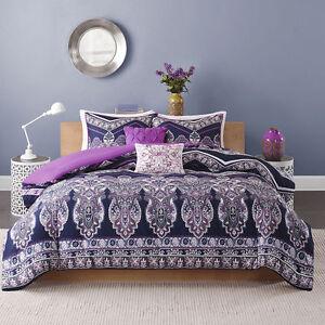 Beautiful modern chic purple blue tropical bohemian global scroll