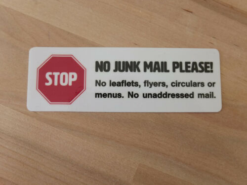 2 x No Junk Mail Sticker Set Medium Self-adhesive in White for Letterbox
