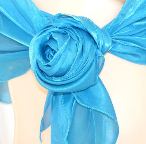 STOLA AZZURRA TURCHESE donna maxi foulard coprispalle cerimonia elegante F5