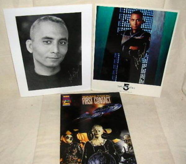 2 STAR TREK Richard Biggs 8 X 10 Hand Signed Photos &  First Contact Book Vol #1