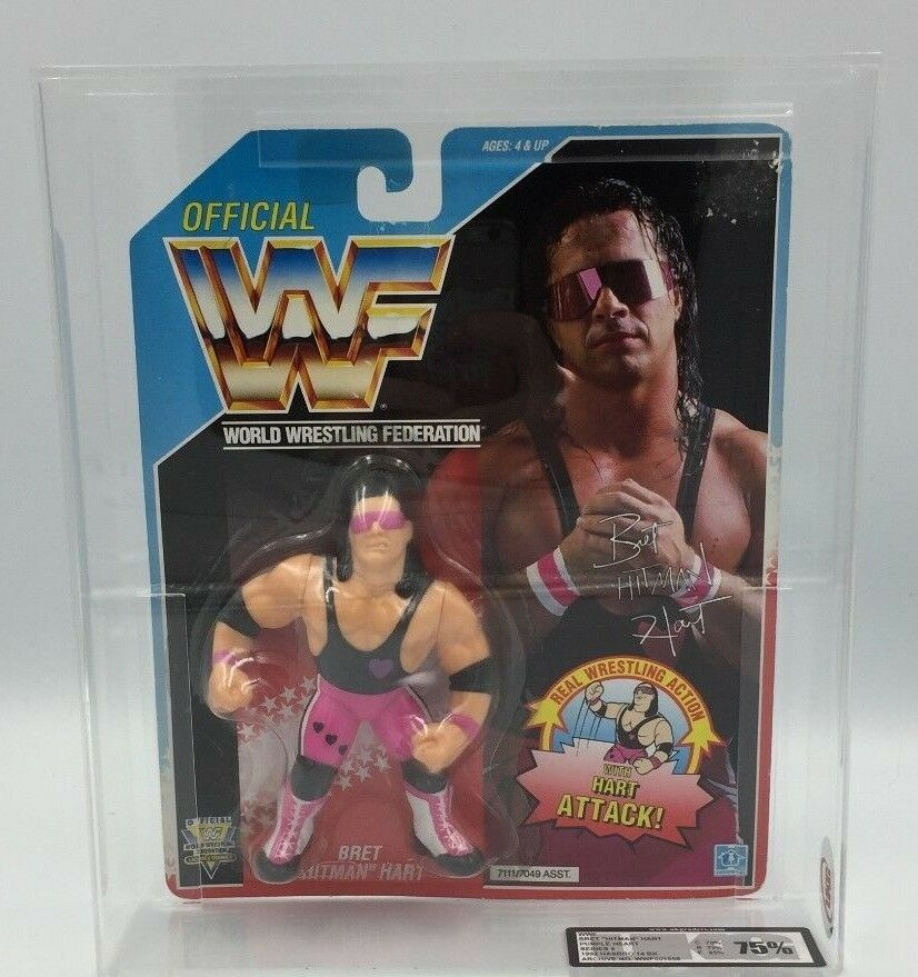 WWF Hasbro BRET HART Purple Heart  Series 4, 1992 14 BK Carded Figure-UKG 75%