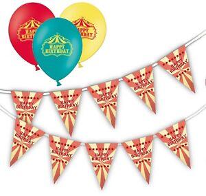 Joyeux-Anniversaire-Cirque-Bundle-Assortiment-de-12-034-Ballons-Pack-De-12-amp-Bunting
