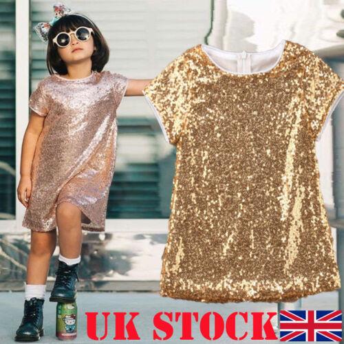 UK Kid Baby Flower Girls Party Sequins Dress Wedding Bridesmaid Dresses Princess