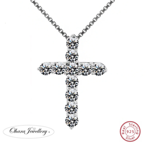 925-Solid-Sterling-Silver-Cross-Cubic-Zirconia-CZ-Pendant-Necklace-Jewellery-Uk