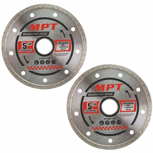 2x MPT Diamond Cutting Wheel 125mm Continuous Cut Off Disc Wet Dry Grinder Tile