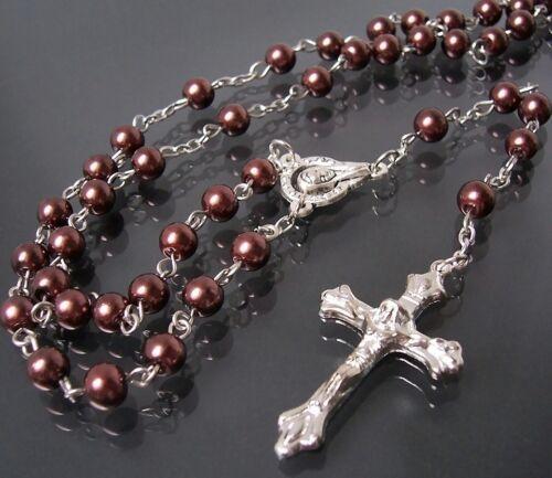 Rosario rezar cadena cruz cruz cadena perlas marrón joyas cadena de oración k659