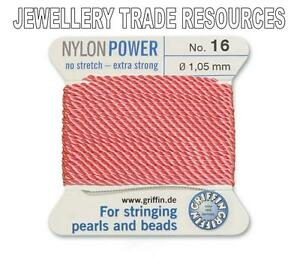 RED NYLON POWER SILKY THREAD 0.3mm STRINGING PEARLS /& BEADS GRIFFIN 0