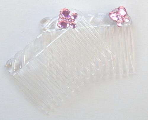 2 x  PINK CRYSTAL DIAMONTIE BUTTERFLY FANCY HAIR SLIDE COMB