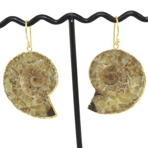 Designer Natural Brown Ammonite Pierre Plaqué Or Femme Goutte Dangle Boucle d/'oreille