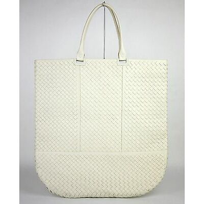 bf4603229bb2  3570 New Auth BOTTEGA VENETA Leather Woven Large Tote Bag White 314718 9904
