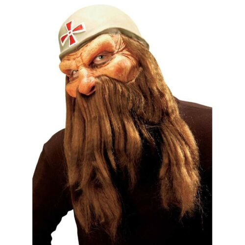 SOLDATEN MASKE /& BART Halloween Zwergen Krieger Alter Mann Opa Kostüm Party 8366